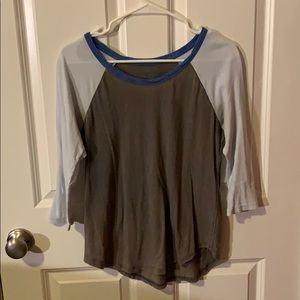 Blue and grey baseball tee